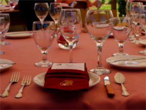 Place setting at a Stone Cottage Cellars winemaker's dinner