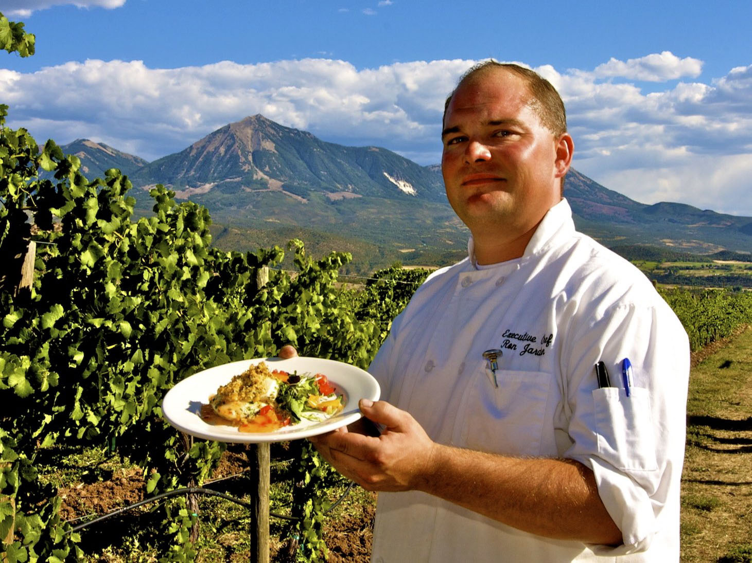Chef Ron Jardon with food from a winemaker's dinner at Stone Cottage Cellars in Paonia Colorado